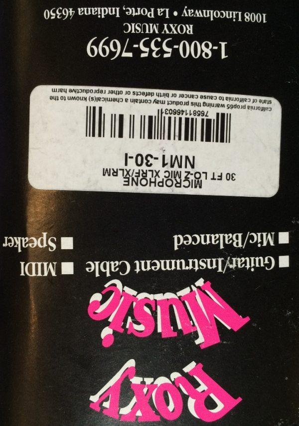 Roxy Music Horizon 30' Microphone XLR to XLR Cable Black - Lifetime Warranty